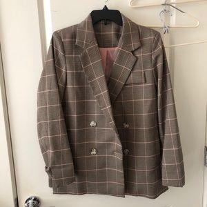 Korean designers brand grid Checked Blazer suit